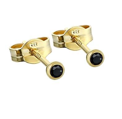 per 1 Paar ! ECHT GOLD Ohrstecker mit je 1 Zirkonia 3,00 mm Gold 333er 8 Kt