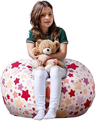 picture of WEKAPO Stuffed Animal Storage Bean Bag Chair Cover for Kids