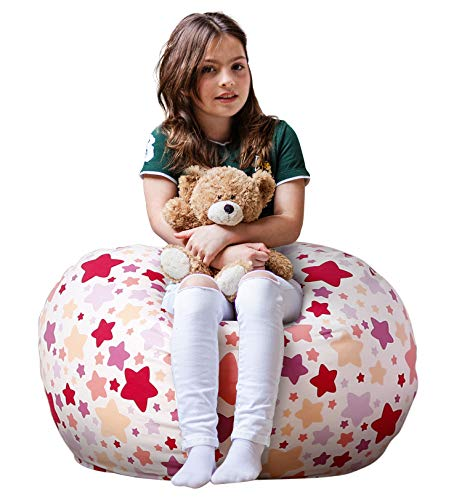 WEKAPO Stuffed Animal Storage Bean Bag Chair Cover for Kids   Stuffable Zipper Beanbag for Organizing Children Plush Toys   38 Extra Large Premium Cotton Canvas