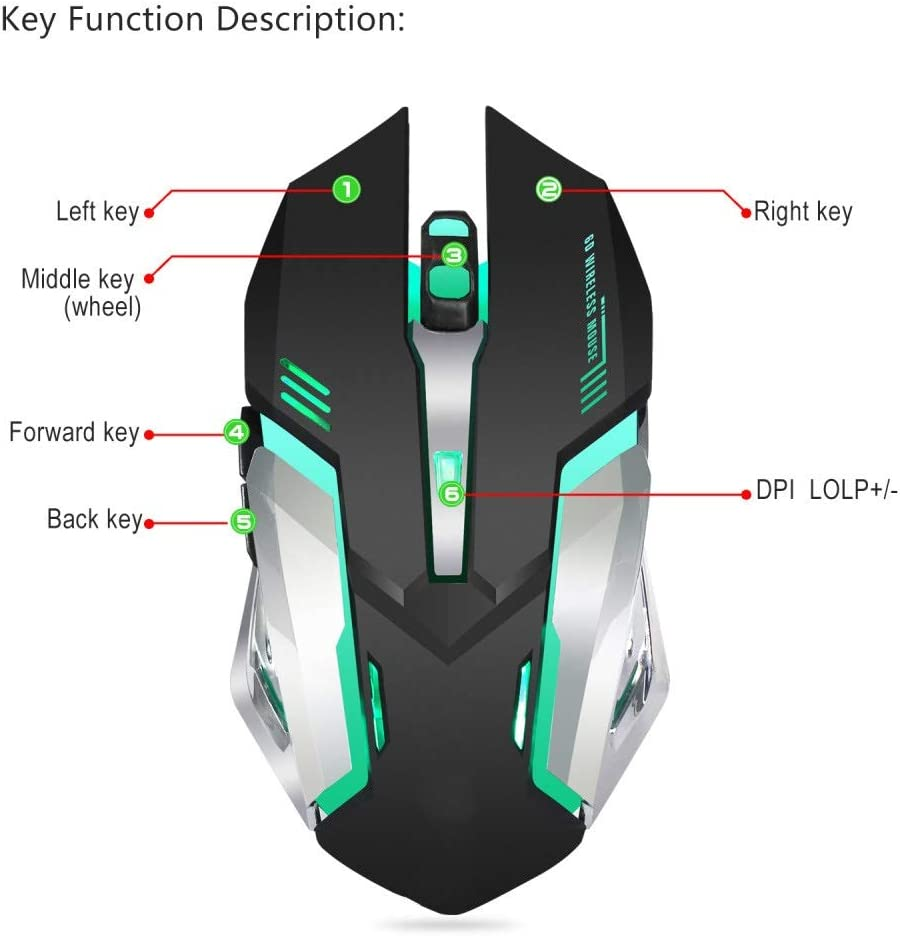 QJGhy Game Mouse Wireless Mouse for Laptop16 Button Optical Mouse 7000DPI Breathing Light LED Ergonomic Black for Computer Laptop Gamers