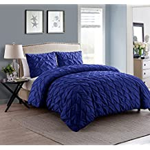 VCNY Home Madison 3 Piece Microfiber Duvet Cover Set, ULTRA SOFT Duvet Cover, Wrinkle Resistant Bed Set, Queen, Navy