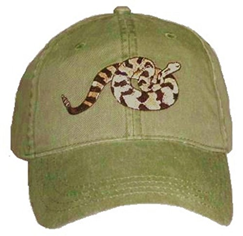 Hat Rattlesnake - Timber Rattlesnake Embroidered Cotton Cap Green