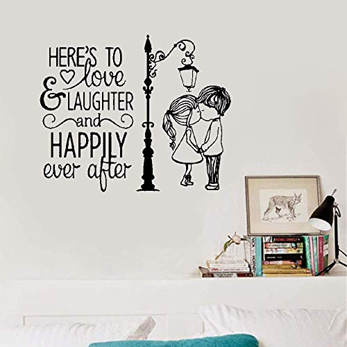Wall Stickers Decor Motivational Saying Lettering Art Love and Laughter and Happily Ever After Couple