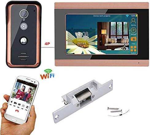 7インチの電気ストライクロックと有線無線LANビデオドア電話ドアベルインターホンエントリーシステム