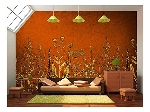 Large Wall Mural Vintage Style Yellow Flowers on Red Background Vinyl Wallpaper Removable Wall Decor