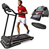 Sportstech F10 treadmill with Smartphone App control, pulse belt incl, 18° incline in 3 steps, Bluetooth, 1HP, 10KM/H, for walking and running with 13 programs - compact foldable for storage