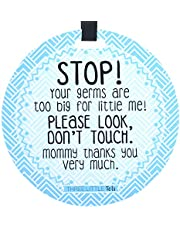 (Three Little Tots) Light Blue Stop Tag - STOP! Your germs are too big for little me! Please look, Don't Touch. Mommy thanks you very much