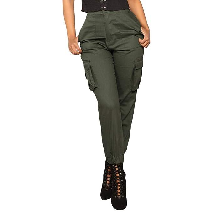 Größe 7 neue Sachen Wählen Sie für neueste OYSOHE Damen Haremshosen Höhe Taille Einfarbig Elastische Hose Taillenhose  Overalls Taschen Cargohosen