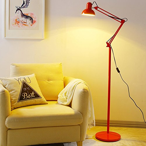 Baycher American Minimalist Living Room Bedroom Bedside Study Creative Folding Floor Lamp Operating table Beauty salon Iron Floor Light(six-color Optional) (Color : Red)