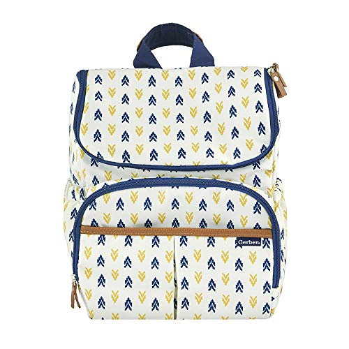 Gerber Childrenswear Diaper Bag Backpack, Insulated Side Pockets, Loop Fasteners ()