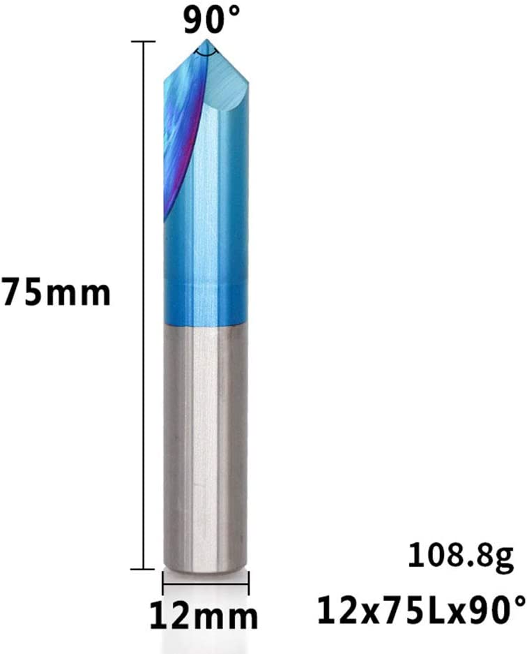 HEFUTE Nano Tianium Coated Carbide Chamfer End Mill V Groove Router Bit 90 Degree for CNC Carving and Chamfer 2mm Shank Diameter