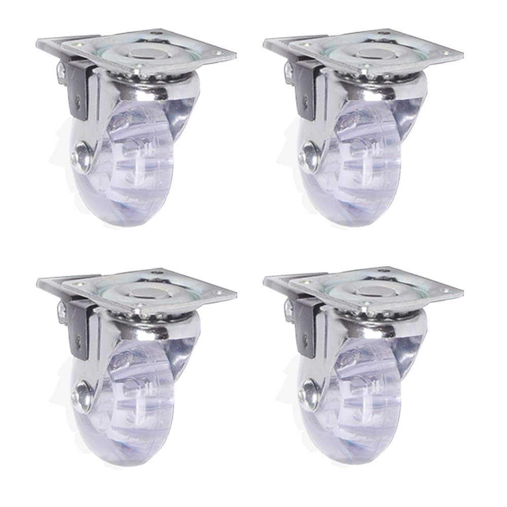Casters WANGTX (4pcs) 3 inch Mute Plate with Brake Transparent for Furniture Office appliances by Casters