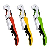 Wine Opener Waiters Corkscrew by Kitchen Gadgets - 3 Pack - 3in1 Multitool: Double Hinged Corkscrew + Foil Cutter Knife + Cap Opener - Easy One Hand Operation - Professional Durable Metal Design