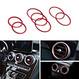 iJDMTOY 7pc Sports Red Aluminum Air Condition Vent/Opening Decroation Cover Trims For 2015-up Mercedes W205 C180 C250 C300 C350 C400 C63 AMG, 2016-up GLC Class, etc