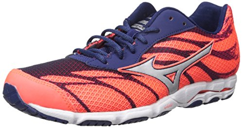 Racing Shoes Mizuno (Mizuno Women's Wave Hitogami 3 Running Shoe, Fiery Coral/Blue Depths, 6 B US)