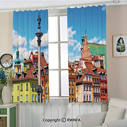 RWNFA Custom Curtain.Scenic Summer Castle Square Ancient Sigismund Column Old Town in Warsaw Poland Decorative Multifunctional Curtains.Set of 2 Panels(55