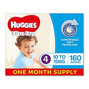 Huggies Ultra Dry Nappies, Boys, Size 4 Toddler (10-15kg), 160 Count, One-Month Supply, Packaging May Vary