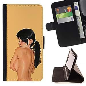BullDog Case - FOR/HTC One M8 / - / woman portrait big boobs naked nude /- Monedero de cuero de la PU Llevar cubierta de la caja con el ID Credit Card Slots Flip funda de cuer