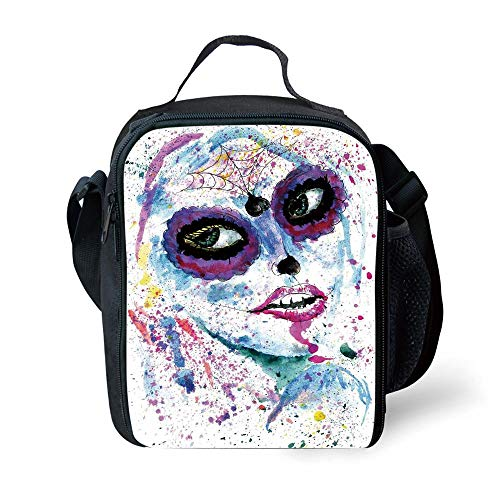 School Supplies Girls,Grunge Halloween Lady with Sugar Skull Make Up Creepy Dead Face Gothic Woman Artsy,Blue Purple for Girls or boys Washable ()