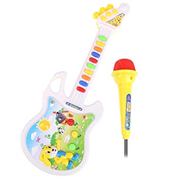 Amazon Com Musical Guitar Baby Kids Light Educational Keyboard Toys