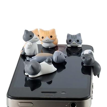 2eb85fad4c3b36 Amazon.com: New Wayzon 6pcs Cute Cheese Cat 3.5mm Anti Dust Earphone Jack  Audio Interfact Plug Stopper Cap for iPhone, Samsung, HTC, More Phones and  ...