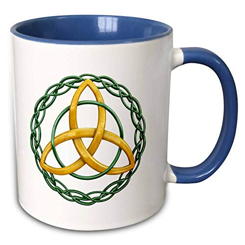 3dRose MacDonald Creative Studios - Celtic - The Triquetra, or trinity knot, is a celtic symbol for Holy Trinity. - 11oz Two-Tone Blue Mug (mug_295422_6)