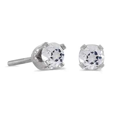 b32a7c736 Image Unavailable. Image not available for. Color: 14k White Gold Round White  Topaz Screw-back Stud Earrings