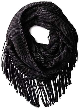 San Diego Hat Company Women's Knit Scarf with Tassels, Black, One Size