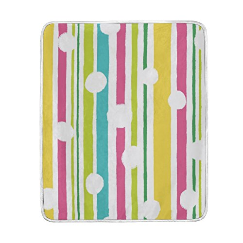 U LIFE Cute Rainbow Striped Polka Dot Soft Fleece Throw Blanket Blankets for Nap Couch Bed Kids Adults 50 x 60 inch (Polka Nap Dot)