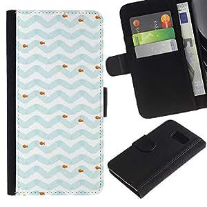 All Phone Most Case / Oferta Especial Cáscara Funda de cuero Monedero Cubierta de proteccion Caso / Wallet Case for Sony Xperia Z3 Compact // Blue White Fish Sea Pattern