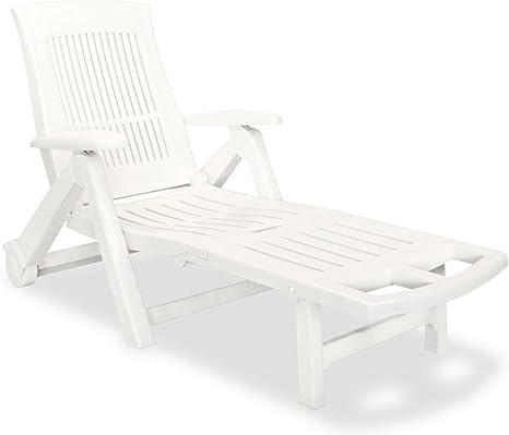 Vidaxl Sonnenliege Kunststoff Weiss Gartenliege Strandliege Relaxliege Liege Amazon De Kuche Haushalt
