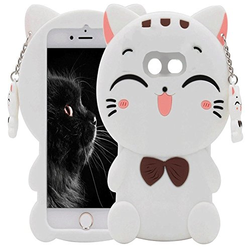 Galaxy J3 Emerge Case, J3 Prime/J3 Mission /J3 Eclipse/J3 Luna Pro/Amp Prime 2, Skmy 3D Lucky Fortune Cat Kitty with Cute Bow Tie Silicone Rubber Phone Case Cover for Samsung Galaxy J3 2017 - White