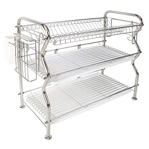 NEX HT-KC815S-M 3-Tier Stainless Steel Dish Drainer Rack, 22.2 (L) x 9.4 (W) x 20.3 (H) by NEX