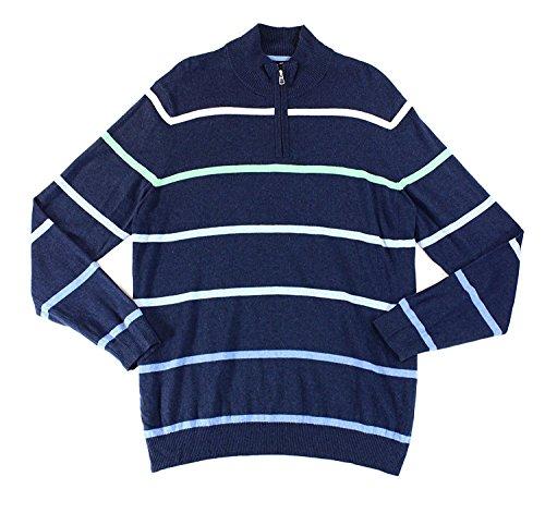 Striped 1/2 Zip Silk Sweater Blue L (Silk Striped Sweater)