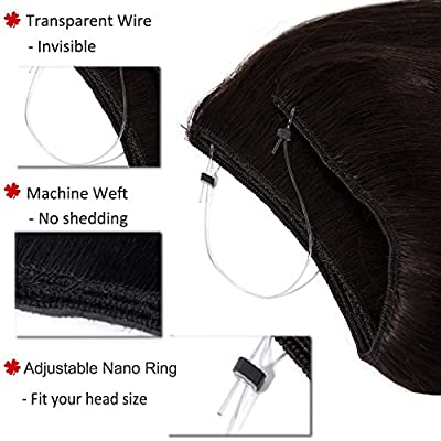 Invisible Wire Human Hair Extensions Remy Secret Hidden Extensions with Fish Line