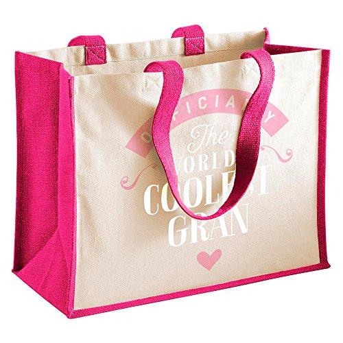 Gran Gift, Gran Birthday Bag, Personalised Gran Gift, Gran Present, Gran Bag, Great Gran Gifts, Gran Funny Gifts, Gran Gifts From Granddaughter, Gran Keepsake, Tote, Shopping Bag (Natural) Fuchsia