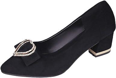 Womens Chunky Thick Block Heel Pumps
