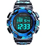 Mens Sport Digital Waterproof Watch Military LED Electronic Casual Watches Luminous Cool Army Watch (B)