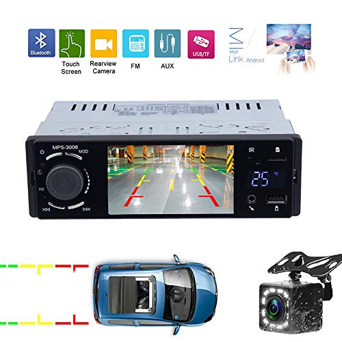 Hikity 1 Din Car Stereo Audio 4.1'' Capacitive Touch Screen Radio FM Bluetooth Supports Android Phone Mirror Link with USB/AUX-in/SD Card Port + Backup Camera & Remote Control (Car Audio 1din)