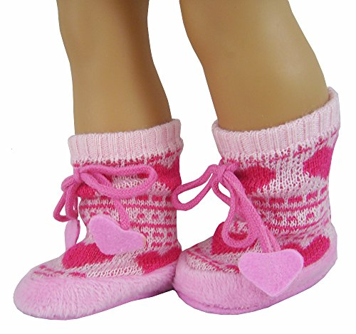 Pink Heart Fair Isle Bootie Slippers made for 18 inch American Girl (Fair Isle Heart)
