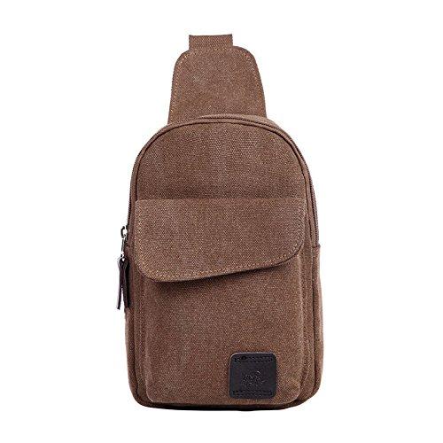 Rachel Charm Leisure Men's Crossbody Bags Canvas One Shoulder Backpack Oblique Chest Pack Fashion Shoulder Bag (Coffee)