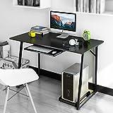 "Dland Computer Desk 47"" Home Office PC Laptop Desk with Keyboard Tray Computer Host Holder Triangular Solid Table Modern Workstation, Black"