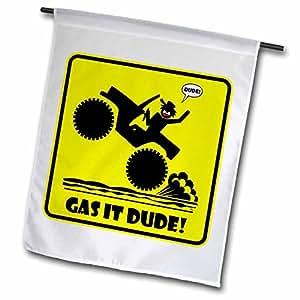 Mark Grace SCREAMNJIMMY Cars - GAS IT DUDE yellow CAR sign 2-12 x 18 inch Garden Flag (fl_40053_1)