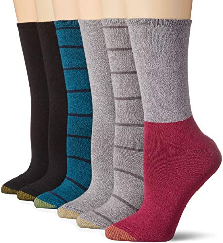 Gold Toe Women's Casual Ultra Soft Crew Socks, 6 Pairs, Raspberry Teal/Black/Charcoal, Shoe Size: 6-9