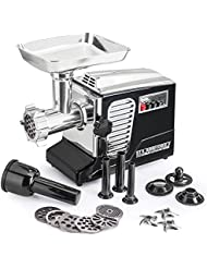 Electric Meat Grinder - Size #12 - Model STX-4000-TB2-PD - STX International Turboforce II - Air Cooling Patent - Foot Pedal Control, 6 Grinding Plates, 3 Cutting Blades, Kubbe & Sausage Tubes - Black