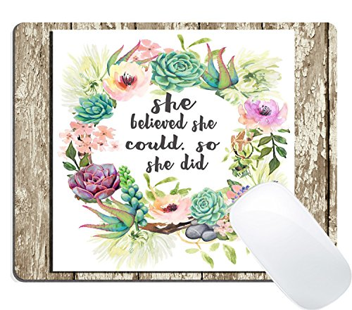 (Wknoon Mouse Pad Custom, Vintage Watercolor Floral Wreath Rustic Wood Christian Scripture Quotes Inspirational - She Believed She)