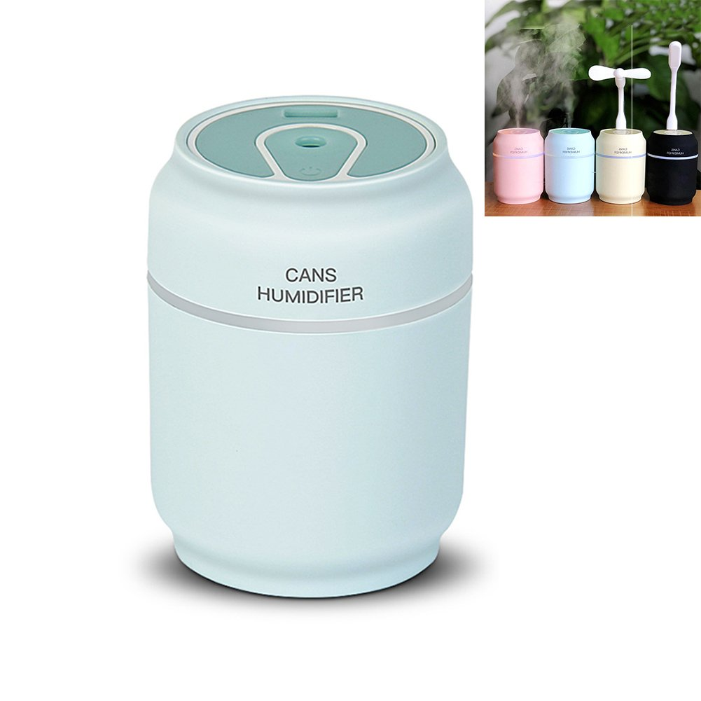 Sweetdecor Mini Humidifier 3-in-1 Portable Mist Humidifier with USB Fan, LED Light, Auto Shut Off Protection For Cars Office Desk Home Babies Kids Bedroom Travel