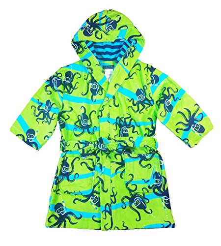 Nautica Boys Beach Swim Hooded Terry Velour Cover-Up Robe (Small (5/6), Green (Swim Cover Up For Kids)