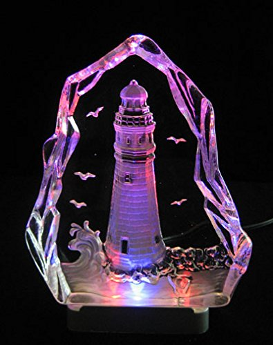 Engraved lead crystal Lighthouse - boat on LED color light base