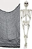 Spookville ~ 36 inch Halloween Skeleton + 4 Yard x 30 inch Black Creepy Cloth Halloween Decorating Set